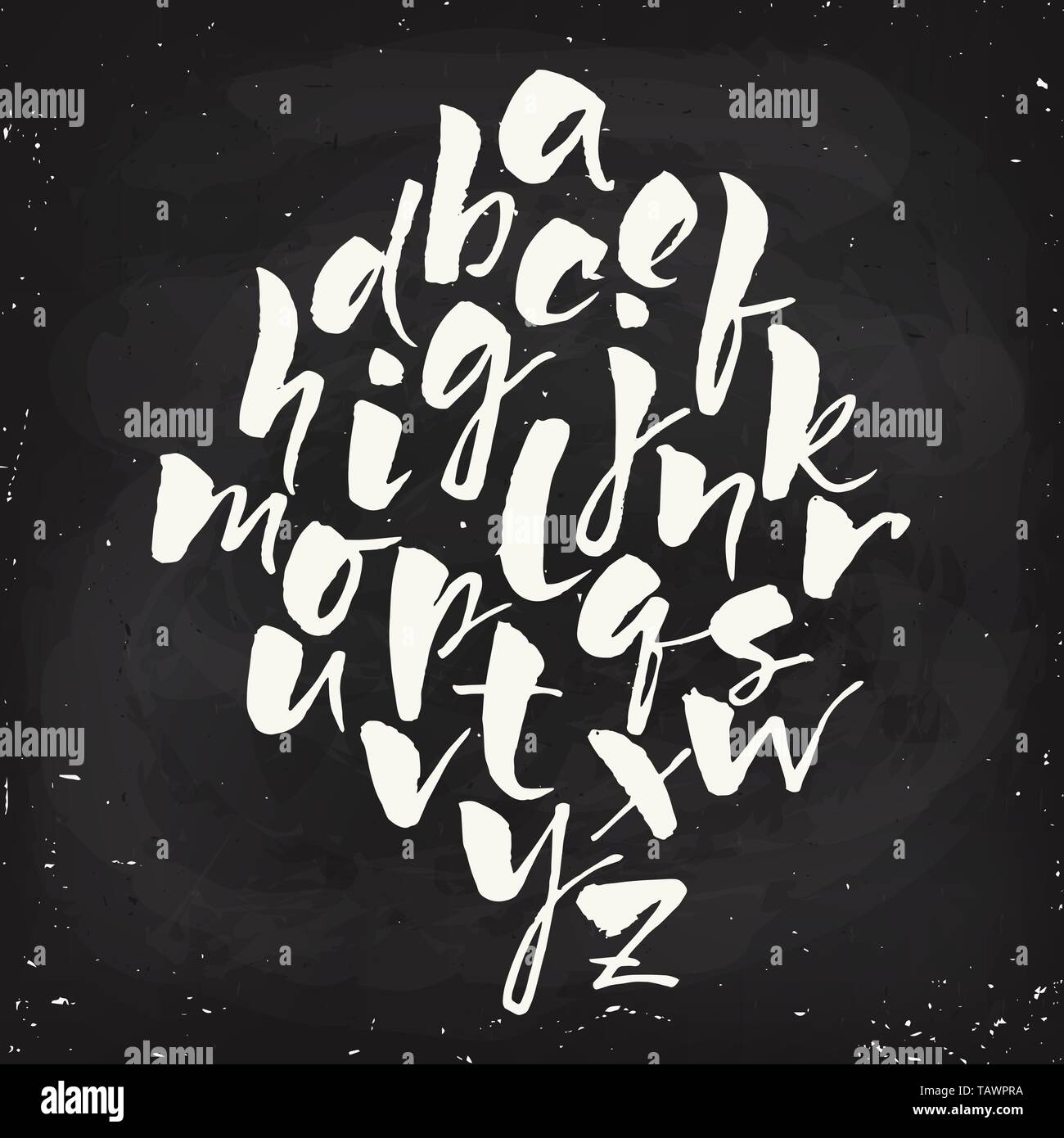 Vector modern calligraphic hand written alphabet set - Stock Image