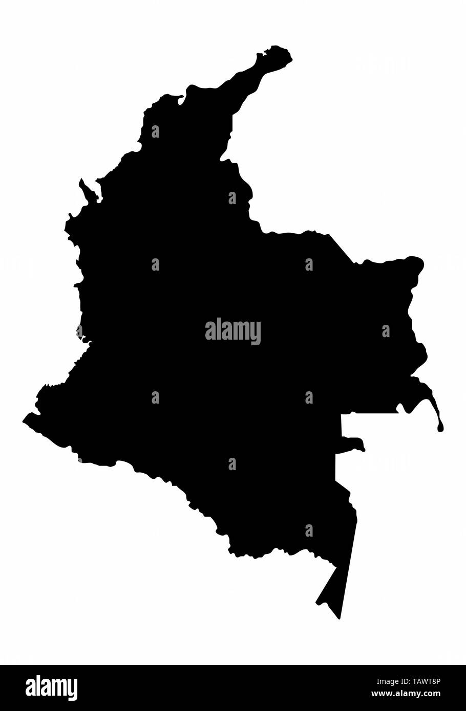 Colombia map dark silhouette isolated on white background - Stock Vector