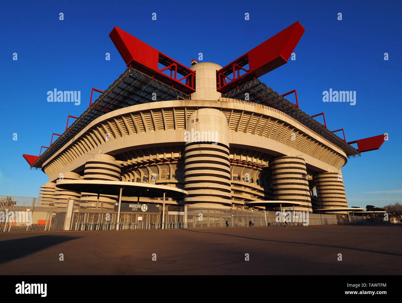 Stadio Giuseppe Meazza commonly known as San Siro, is a football stadium in Milan, Italy, which is the home of A.C. Milan and Inter Milan Stock Photo