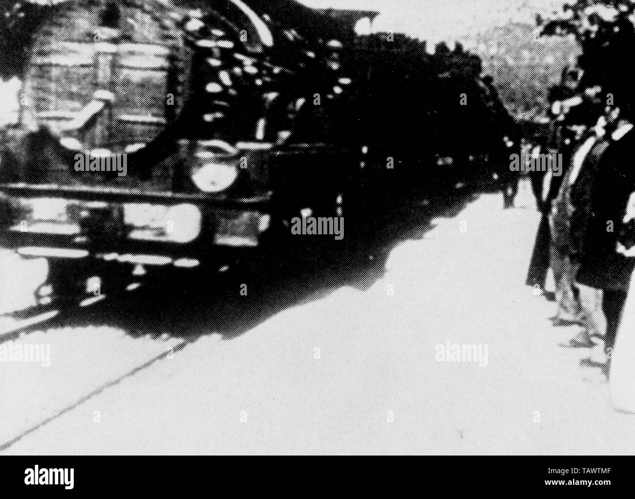 the Arrival of a Train at La Ciotat Station, Arrival of a Train at La Ciotat, The Arrival of the Mail Train, Train Pulling into a Station, 1895 French short black-and-white silent documentary film directed and produced by Auguste and Louis Lumiere - Stock Image