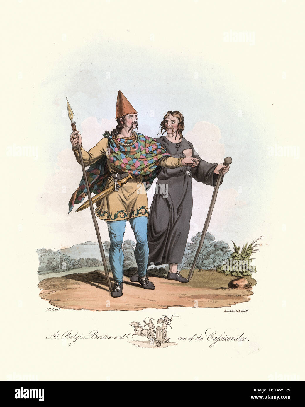 Begic Briton and one of the Cassiterides. 1815, The Costume of the Original Inhabitants of the British Islands, by MEYRICK, Samuel Rush and SMITH Char Stock Photo