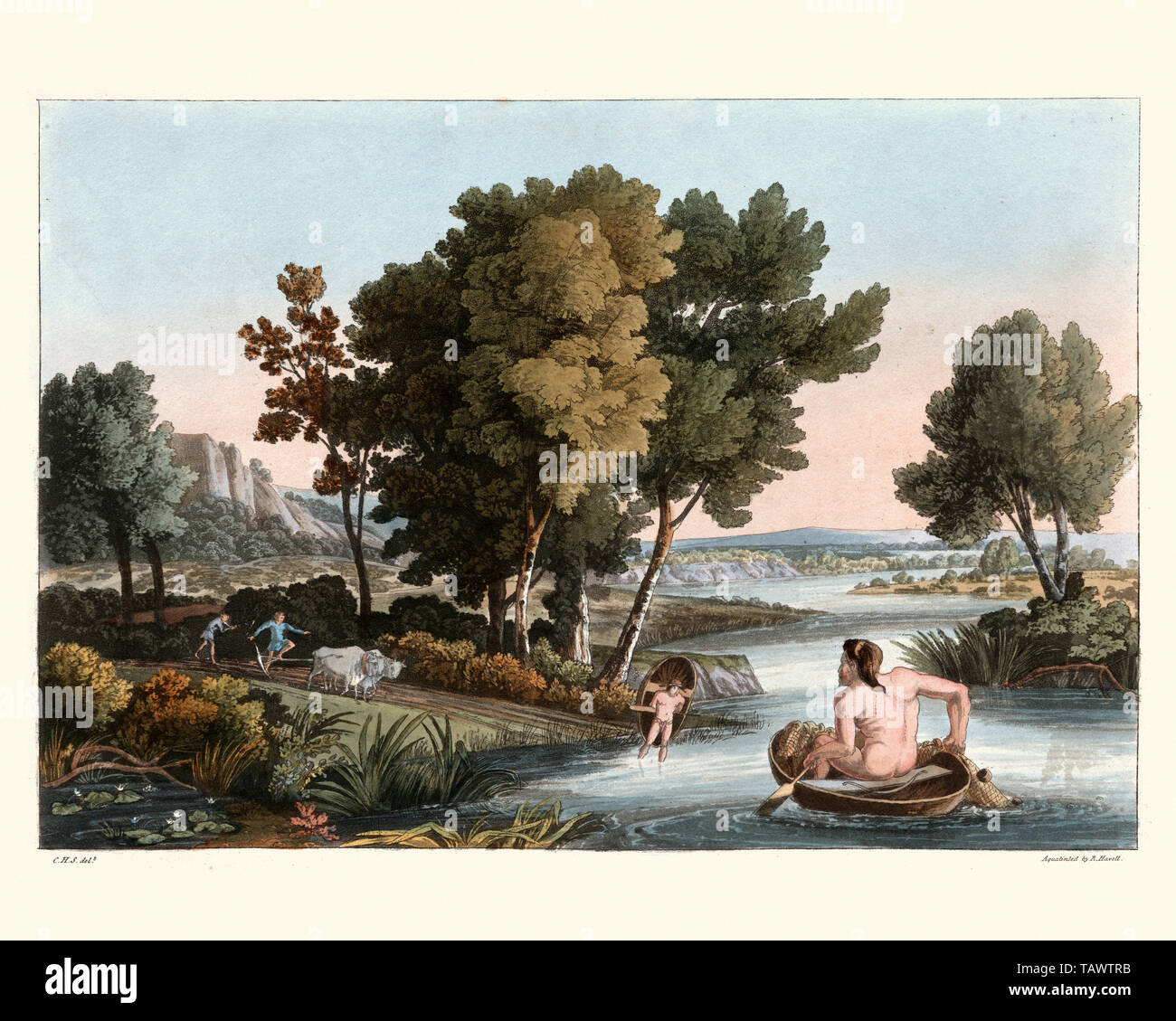 Ancient British fishing and Husbandry, farmers ploughing a field and man fishing using a coracle boat. 1815, The Costume of the Original Inhabitants o - Stock Image
