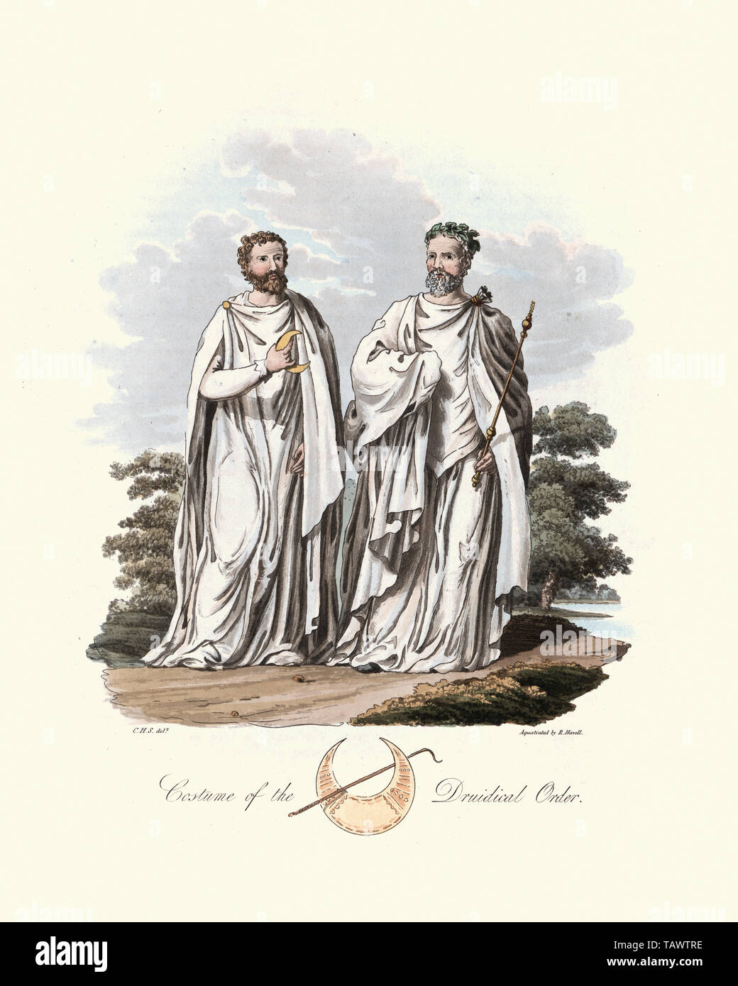 Ancient British Druids. 1815, The Costume of the Original Inhabitants of the British Islands, by MEYRICK, Samuel Rush and SMITH Charles Hamilton. A dr Stock Photo