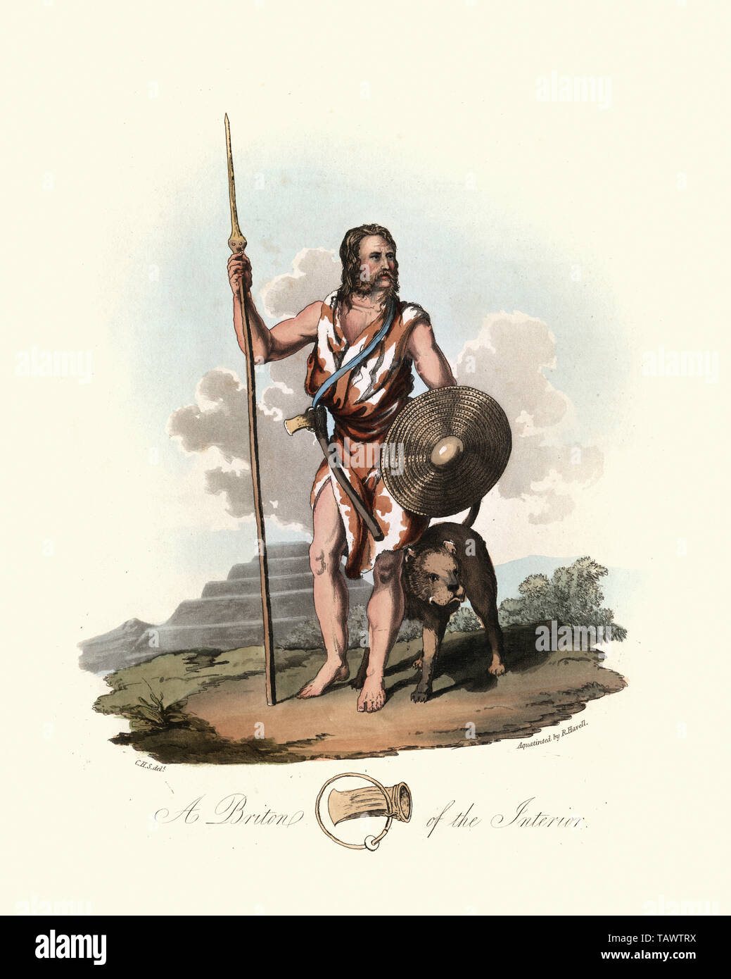 Ancient Briton warrior with spear, shield and war dog. 1815, The Costume of the Original Inhabitants of the British Islands, by MEYRICK, Samuel Rush a Stock Photo