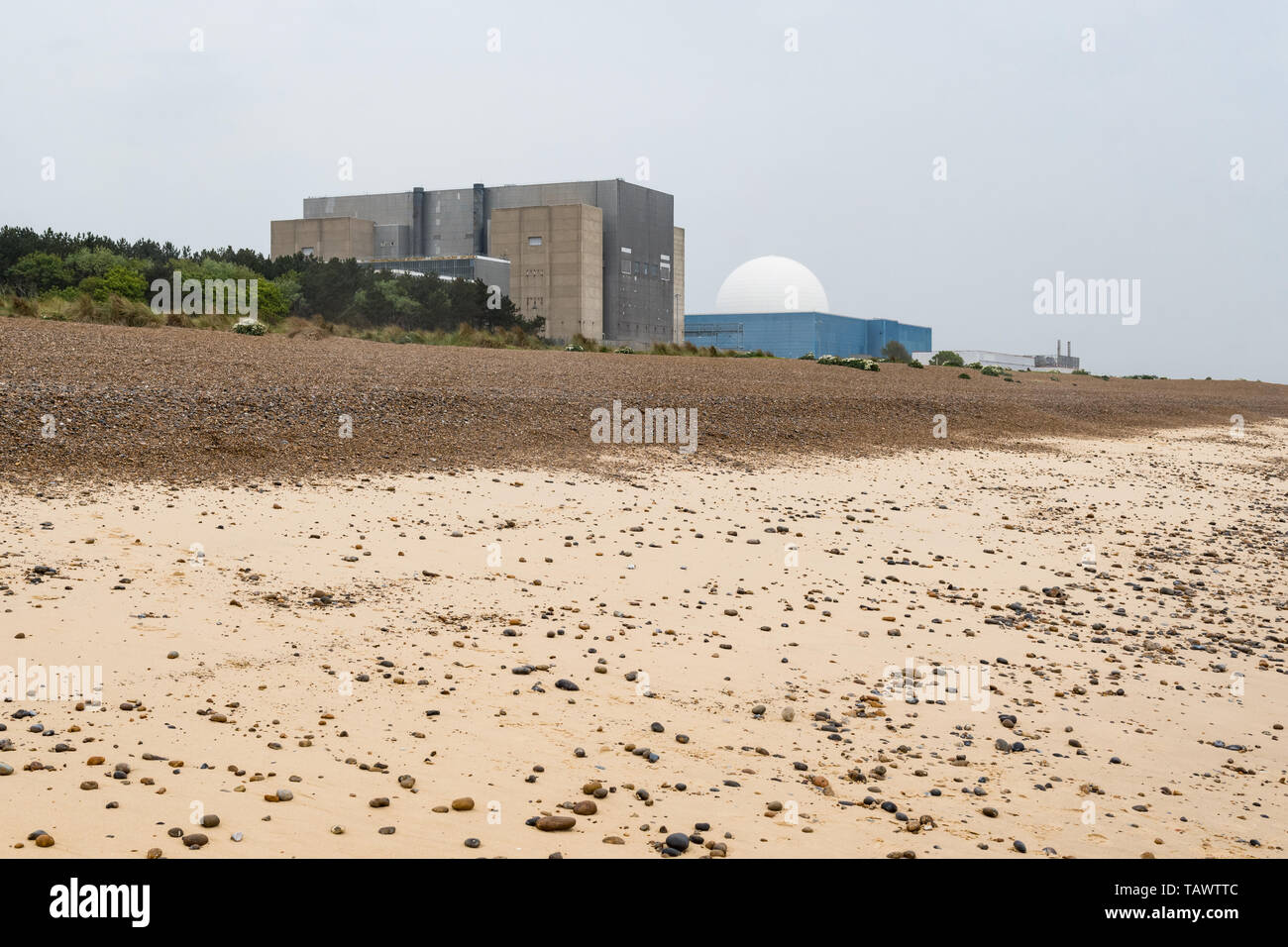 Sizewell A and Sizewell B nuclear power stations, Sizewell, Suffolk, England, UK - Stock Image