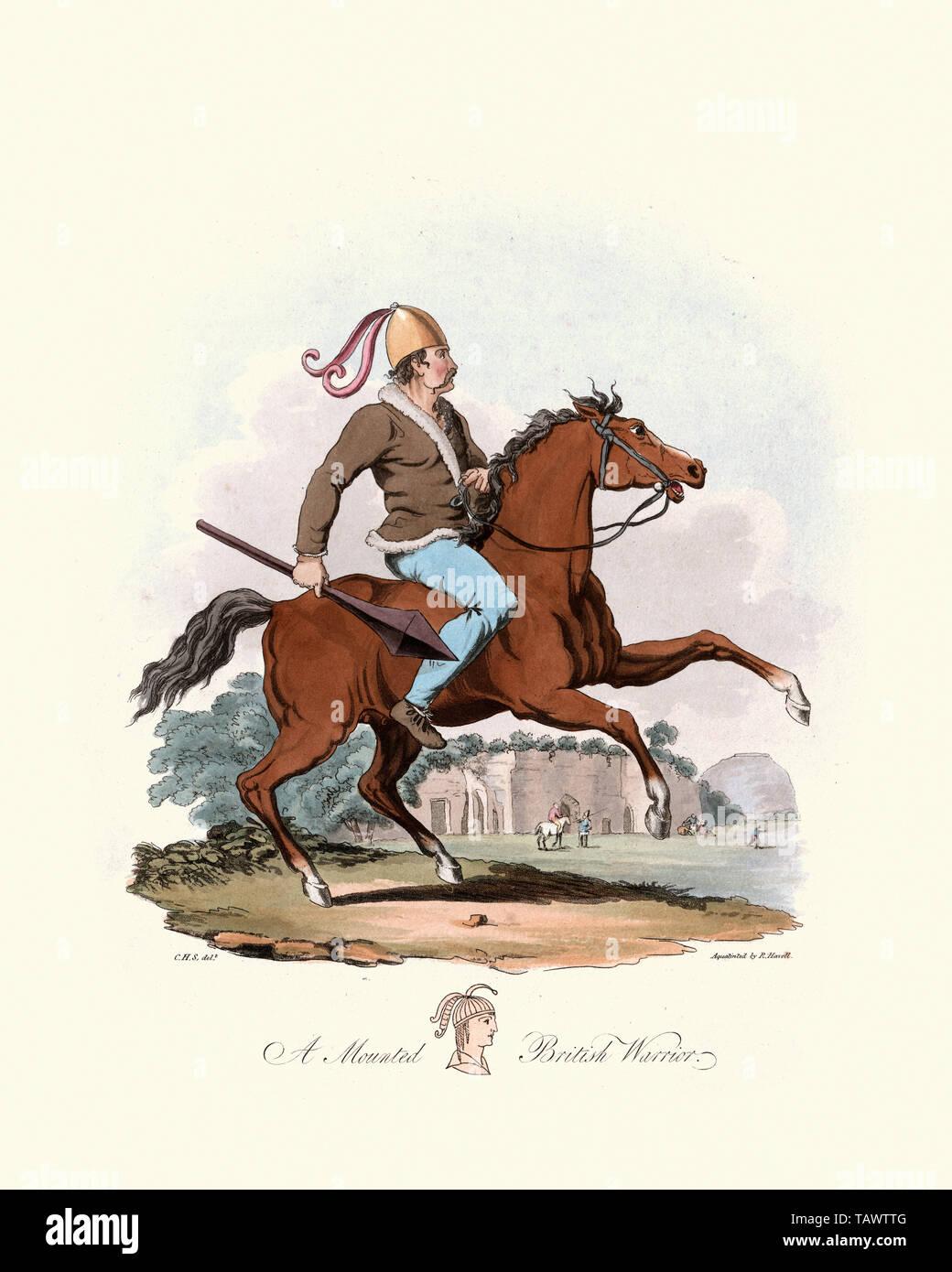 Mounted British Warrior. 1815, The Costume of the Original Inhabitants of the British Islands, by MEYRICK, Samuel Rush and SMITH Charles Hamilton Stock Photo