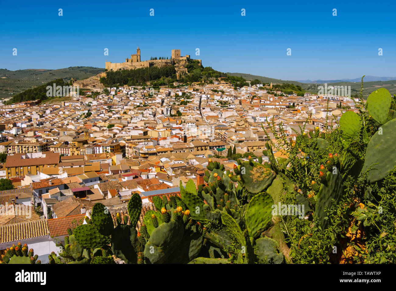 Panoramic view typical Andalusian village of Alcala la Real. Jaen province, southern Andalusia. Spain Europe - Stock Image