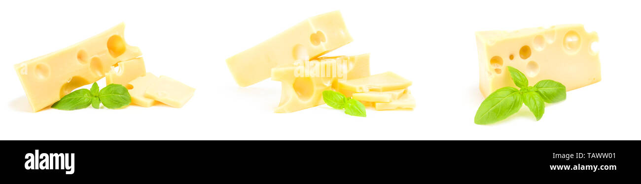 Group of cheese with green leaf Stock Photo