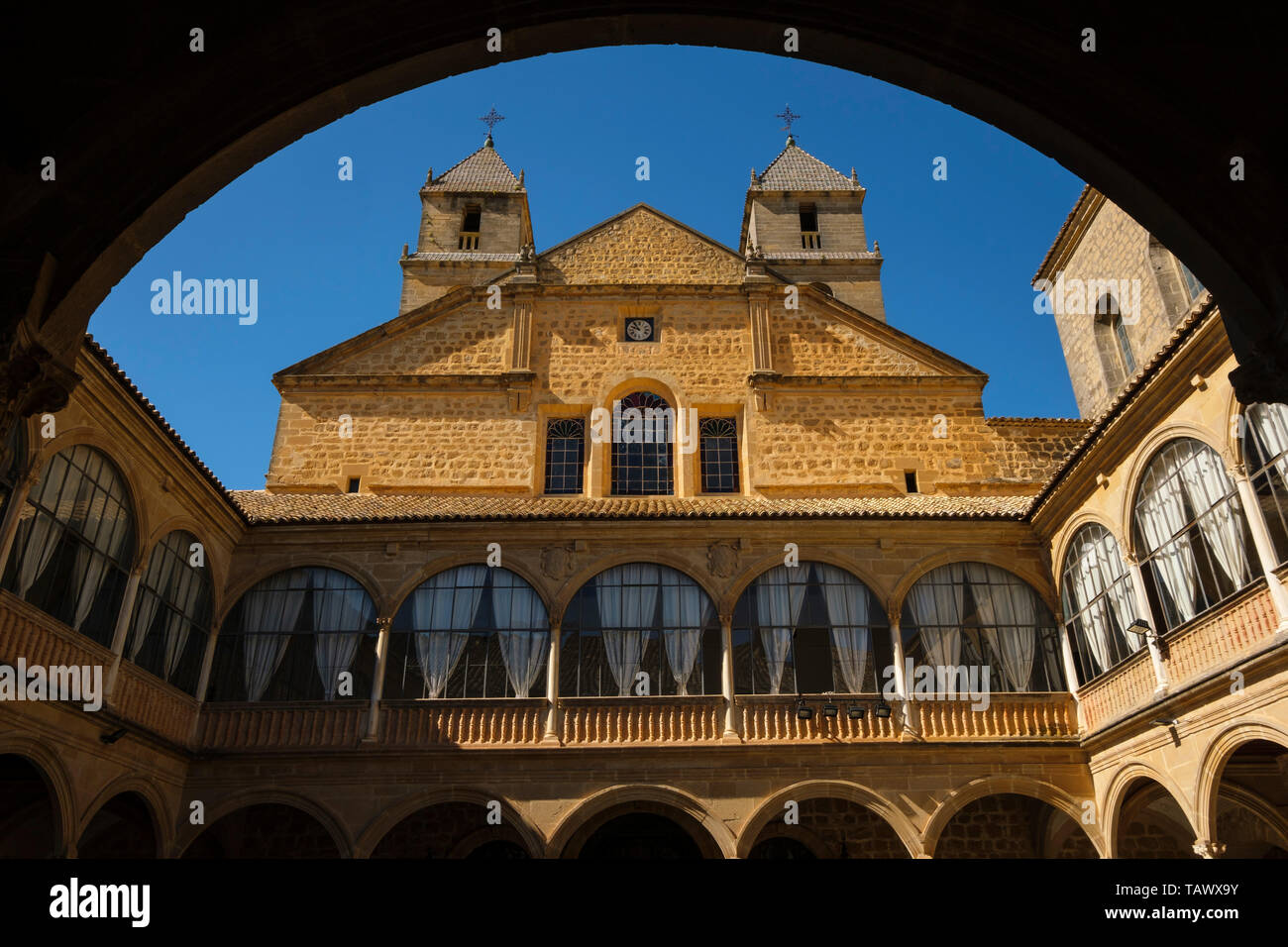 Courtyard of Hospital de Santiago. Ubeda, Jaén province. southern Andalusia. Spain Europe - Stock Image