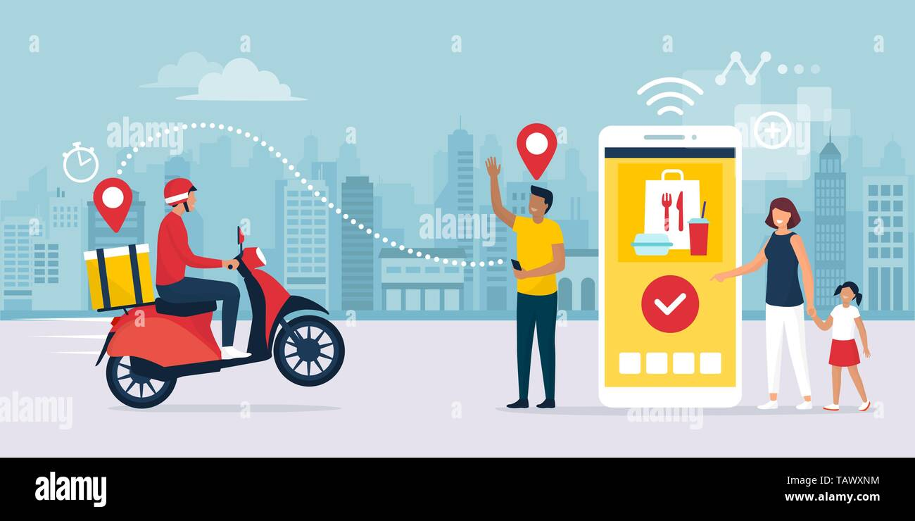 Happy family standing next to their smartphone in the city street, they are receiving a ready fast food meal ordered online using a mobile app, the de - Stock Vector