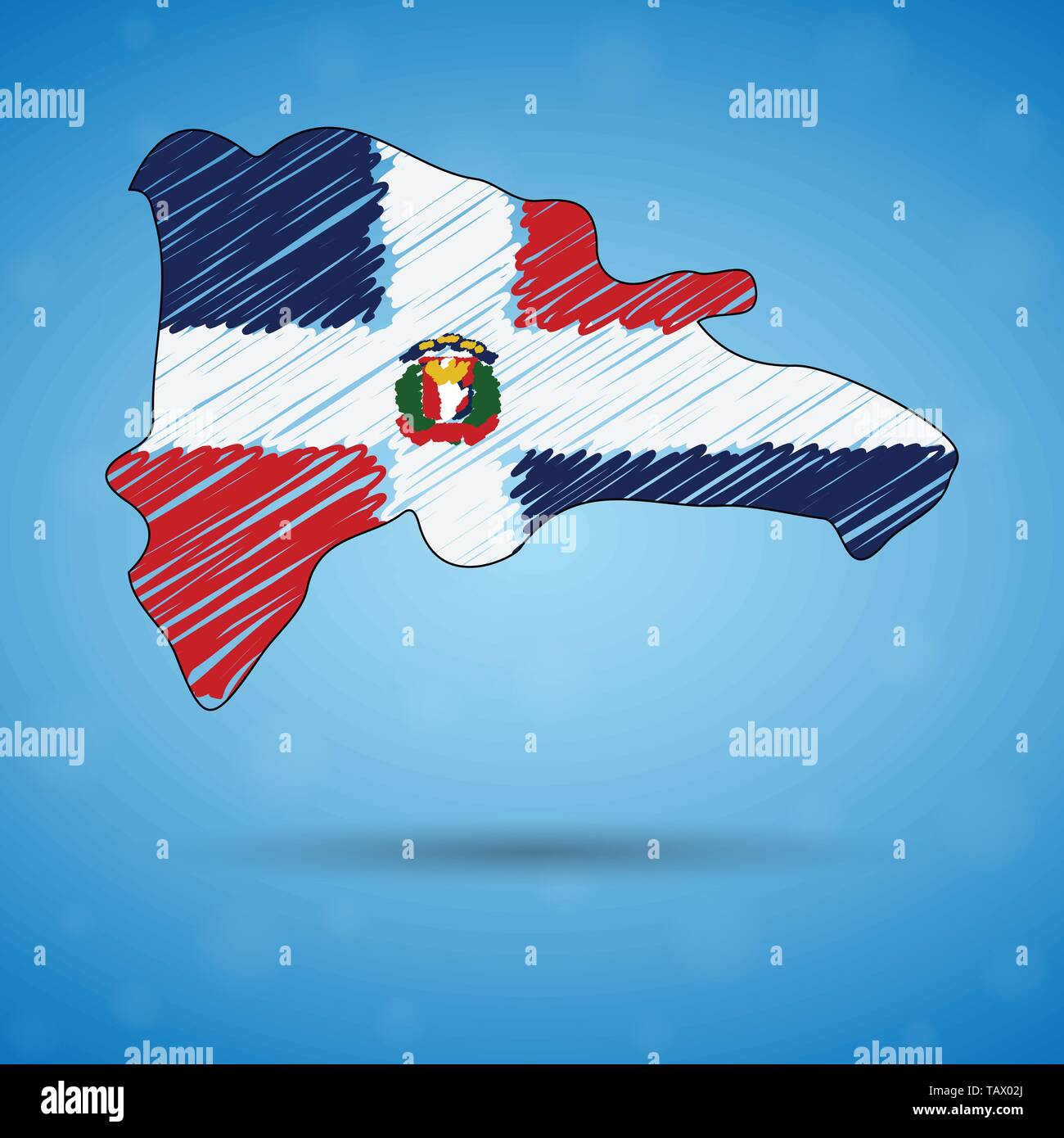 Scribble map of Dominican Republic. Sketch Country map for infographic, brochures and presentations, Stylized sketch map of Dominican Republic. Vector Stock Vector