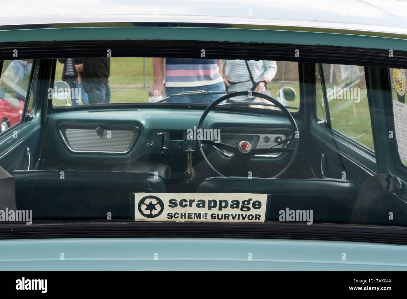 """Classic car with """"scrappage scheme survivor"""" sticker in rear window, Classic Car and Motorbike show, Winchester, Hampshire, UK - Stock Image"""