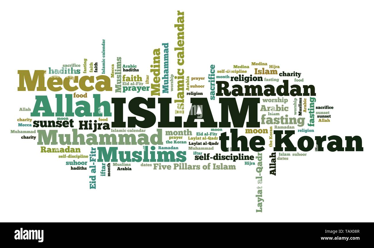 Islam religion - faith in Allah and Muhammad. Word cloud sign. - Stock Image