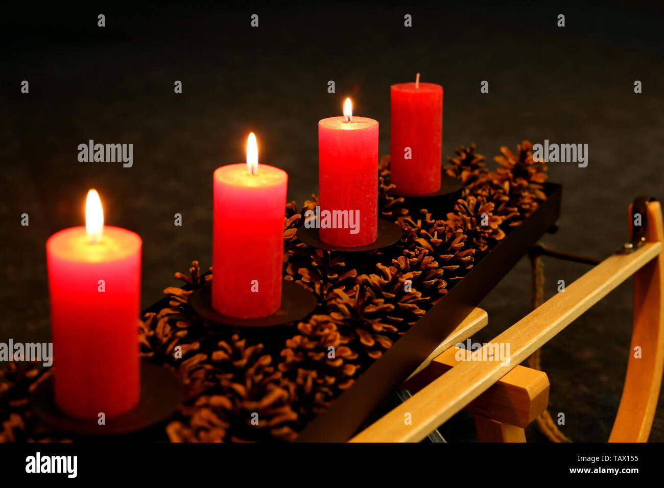 light the candles in the advent Stock Photo