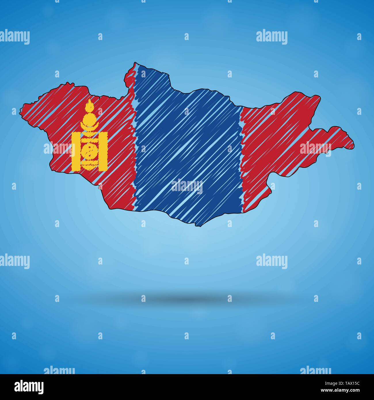 Scribble map of Mongolia. Sketch Country map for infographic, brochures and presentations, Stylized sketch map of Mongolia. Vector illustration - Stock Vector