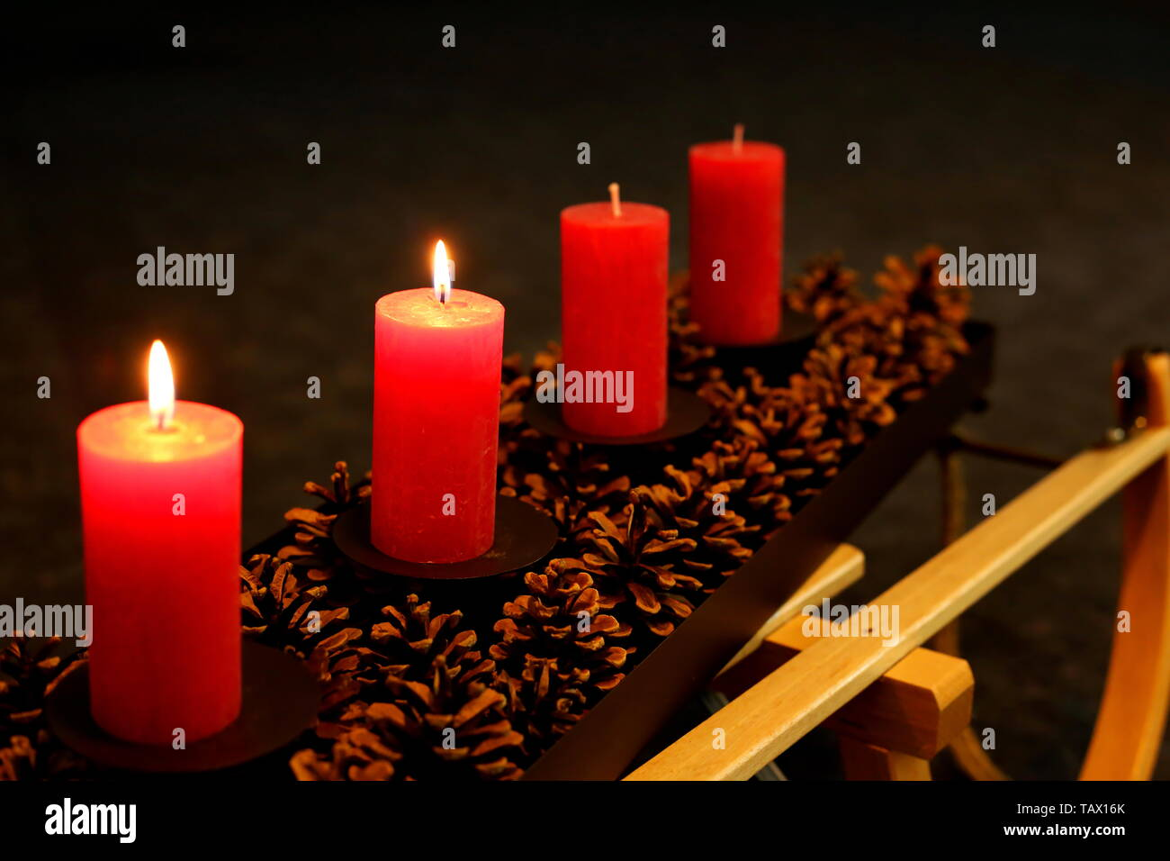 light the candles in the advent - Stock Image