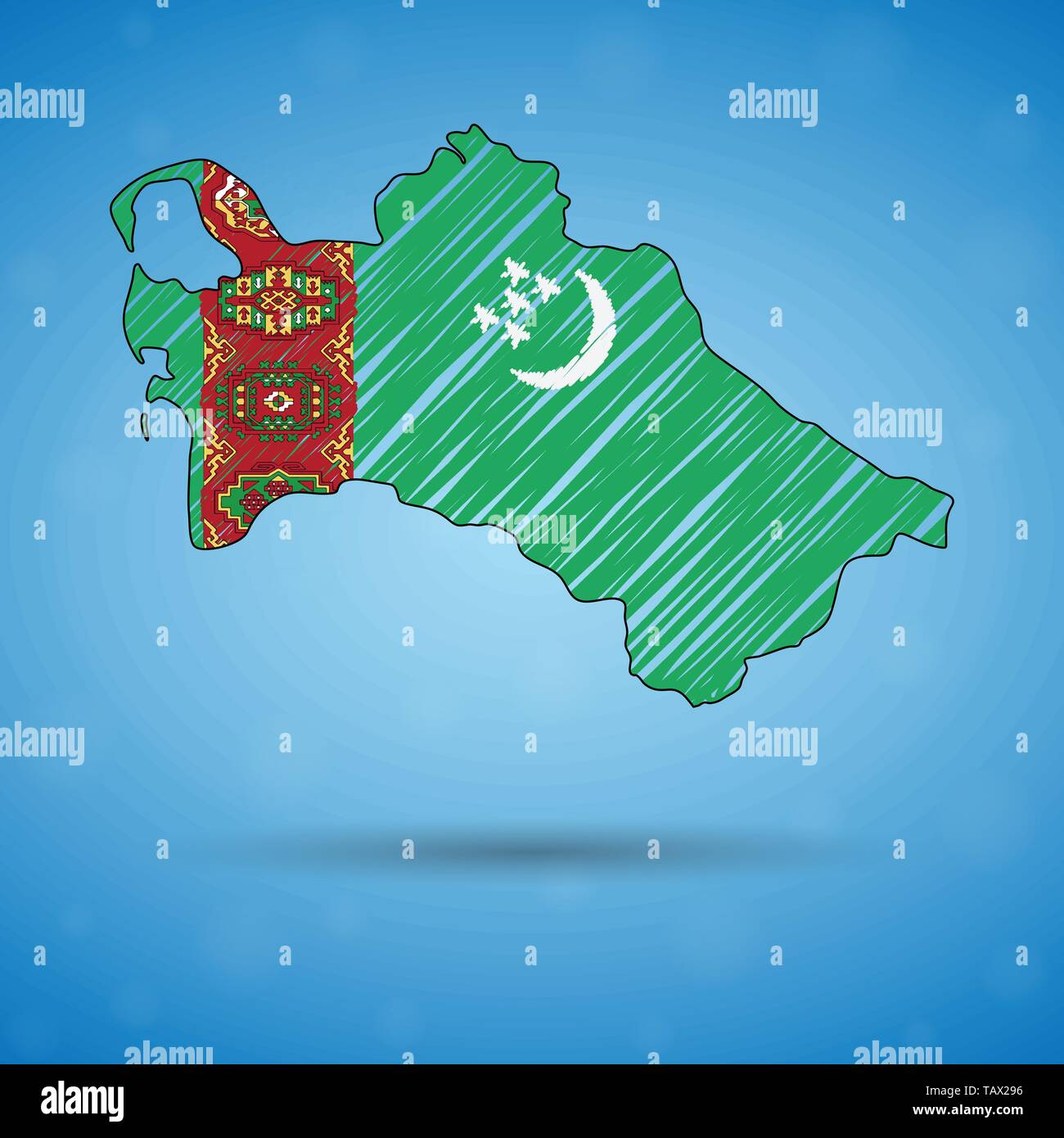 Scribble map of Turkmenistan. Sketch Country map for infographic, brochures and presentations, Stylized sketch map of Turkmenistan. Vector - Stock Vector