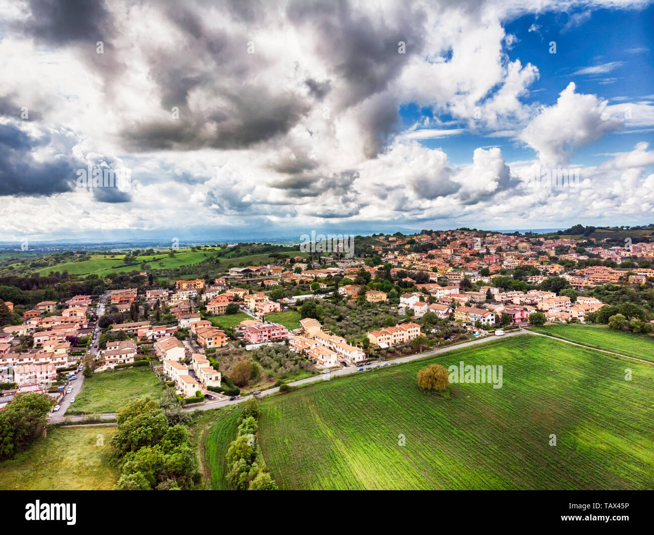 Showroom It Rignano Flaminio agriculture and urban environment from above stock photos