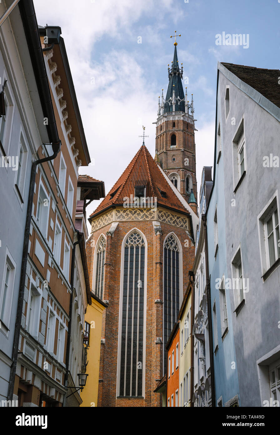 Landshut Old town with the world's tallest Brick Gothic tower of Church of St. Martin (Martinskirche) seen in background, Bavaria, Germany, Europe. - Stock Image