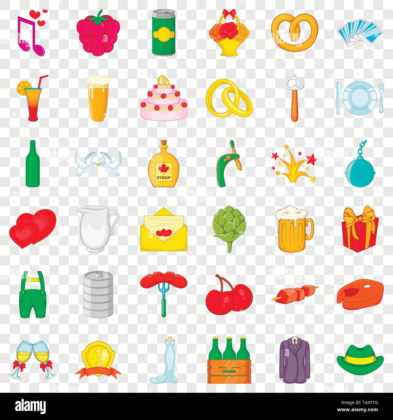 Wine icons set, cartoon style - Stock Image