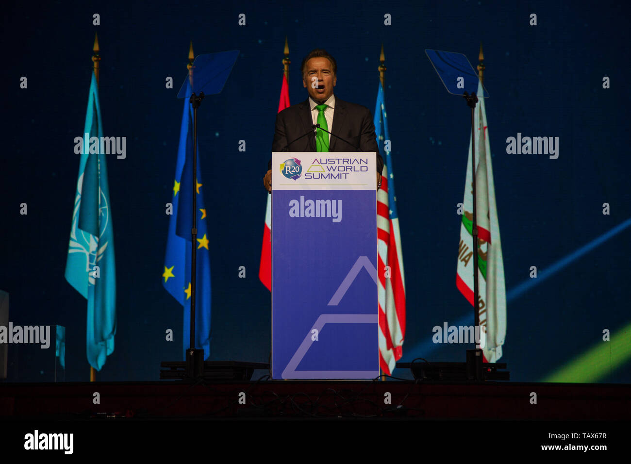 Actor & former Governor of California iArnold Schwarzenegger gives a keynote speech at the Austrian World Summit on 28 May 2019 - Stock Image