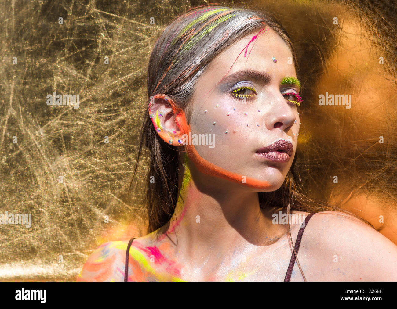 Indian Woman With Colorful Neon Paint Makeup Face Indian
