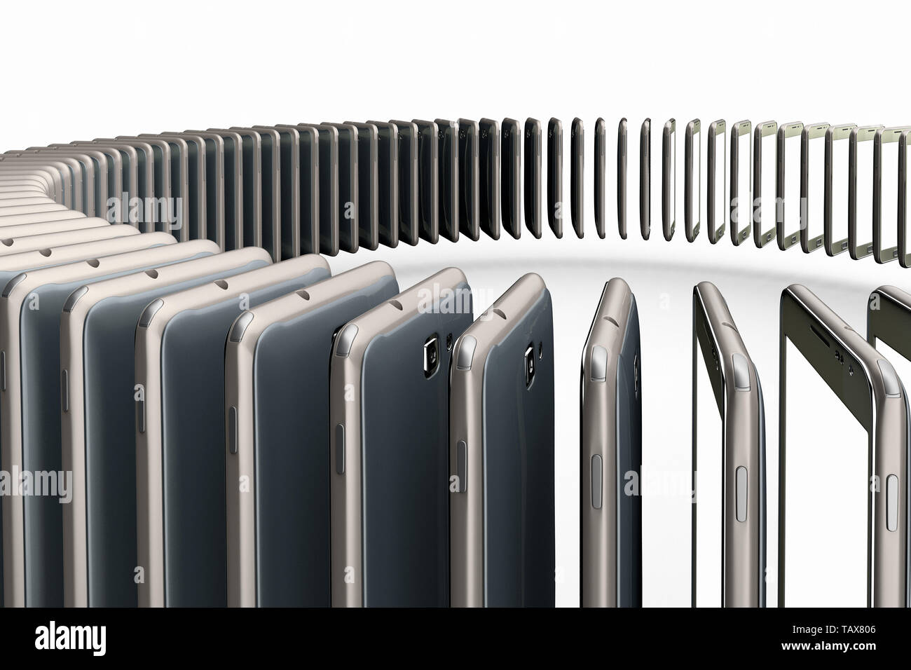 3D rendering of a conceptual image of mass production of cell phones - Stock Image