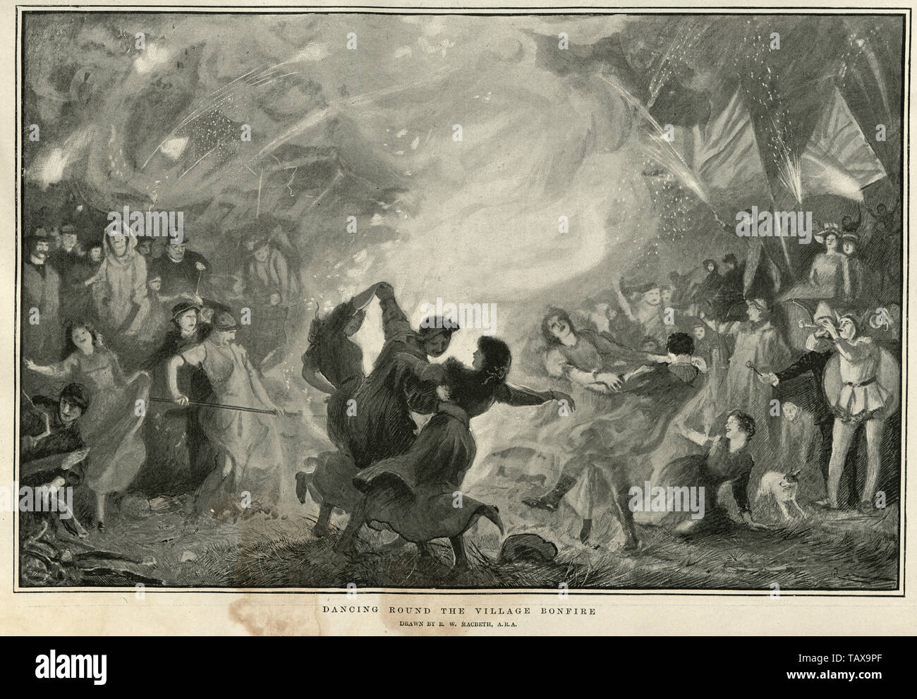 Dancing round the village bonfire, after Robert Walker Macbeth, 1902 Stock Photo