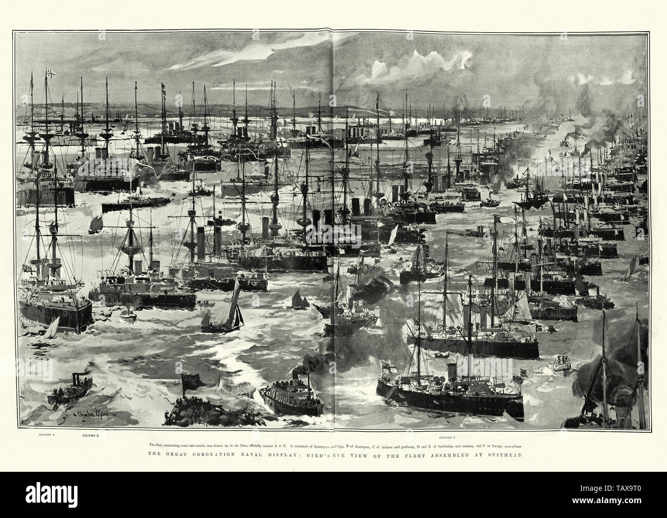 Great coronation naval display at Spithead, for King Edward VII, 1902 Stock Photo