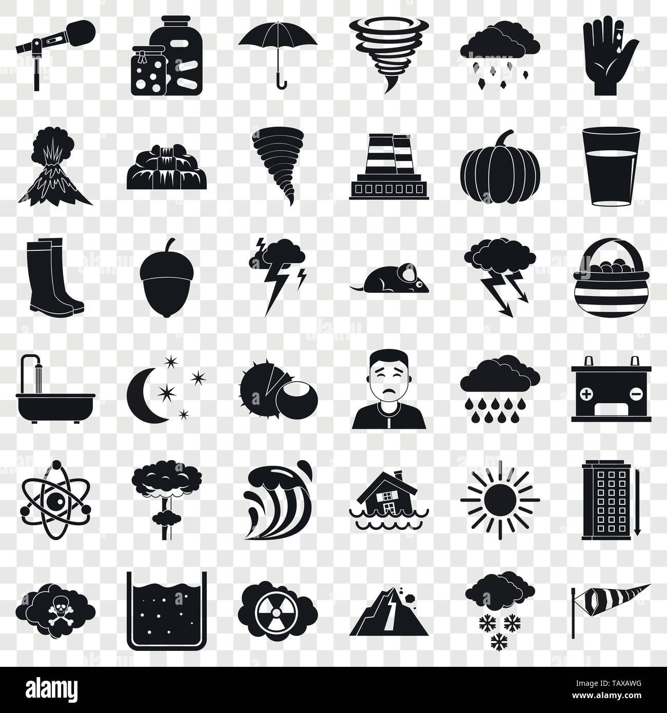 Lightning icons set, simple style Stock Vector Art