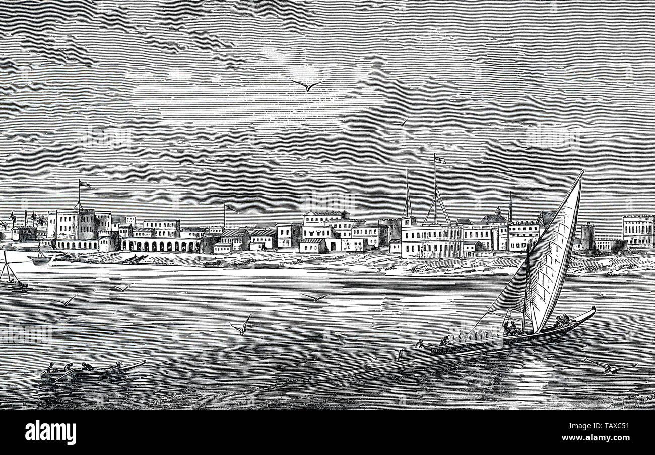 City view of Zanzibar, Tanzania, East Africa, historic engraving from 19th Century, Stadtansicht von Sansibar, Tansania, Ostafrika, historischer Stich aus dem 19. Jahrhundert - Stock Image