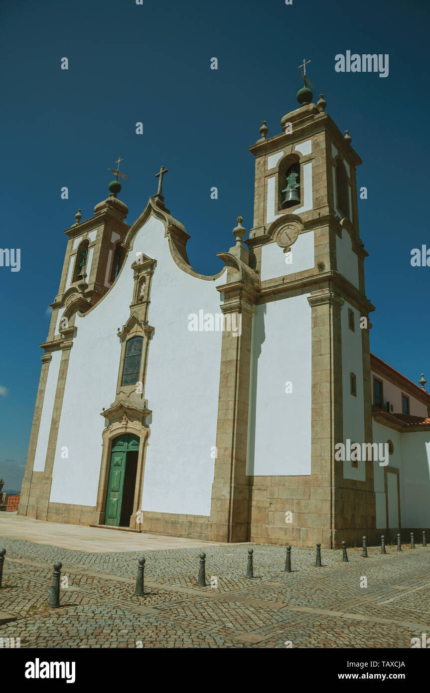 Church of Our Lady of the Assumption facade in baroque style at Seia. A nice village of Portugal also known for its delicious cheese. - Stock Image