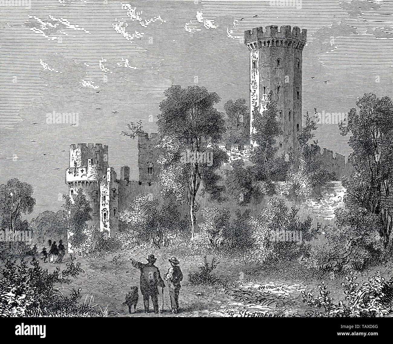 Warwick Castle, England, Europe, historic engraving from the 19th century, Schloss Warwick, England, Europa, historischer Stich aus dem 19. Jahrhundert - Stock Image
