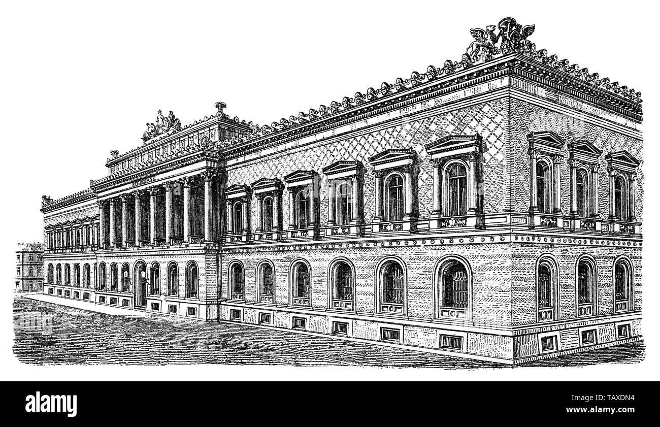 Berliner Bauwerke, Die Reichsbank war die Zentralnotenbank des Deutschen Reiches, 19. Jahrhundert, aus Meyers Konversations-Lexikon, 1889, Berlin, Deutschland, Europa - Stock Image