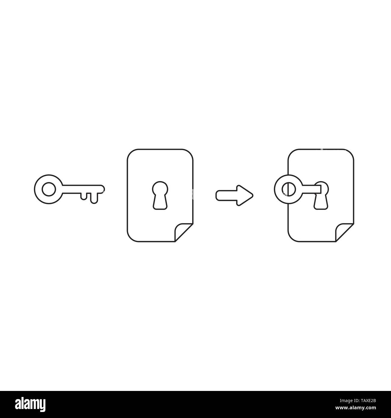 Vector icon concept of key unlock, lock paper keyhole. Black outlines. - Stock Image