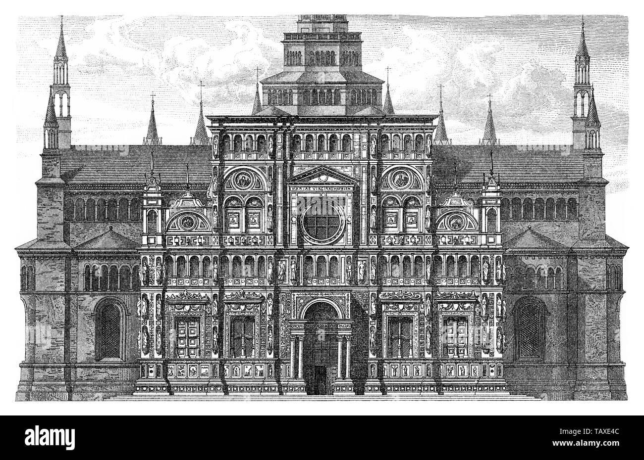 Historische, zeichnerische Darstellung, Fassade der Kirche Madonna delle Grazie, Certosa di Pavia, Italien, 16. Jahrhundert, aus Meyers Konversations-Lexikon, 1889 - Stock Image