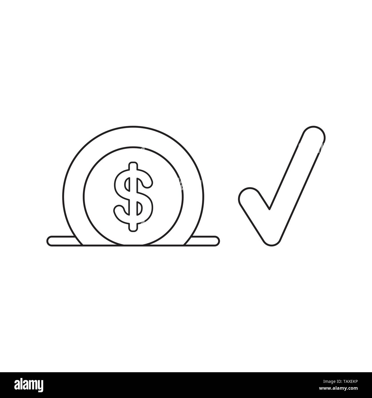 Vector icon concept of dollar into moneybox hole with check mark. Black outlines. Stock Vector
