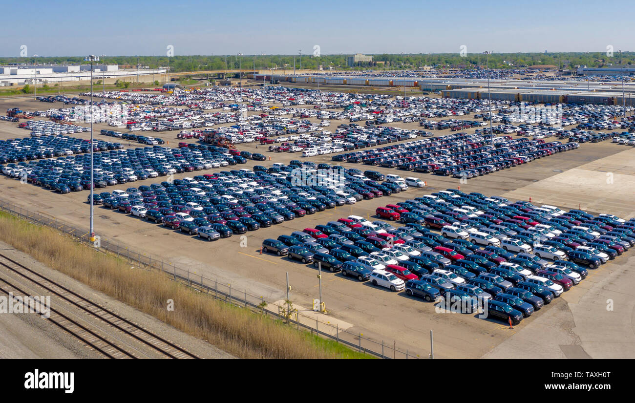 Detroit, Michigan - SUVs built at Fiat Chrysler's Jefferson North Assembly Plant await transport to dealers. - Stock Image