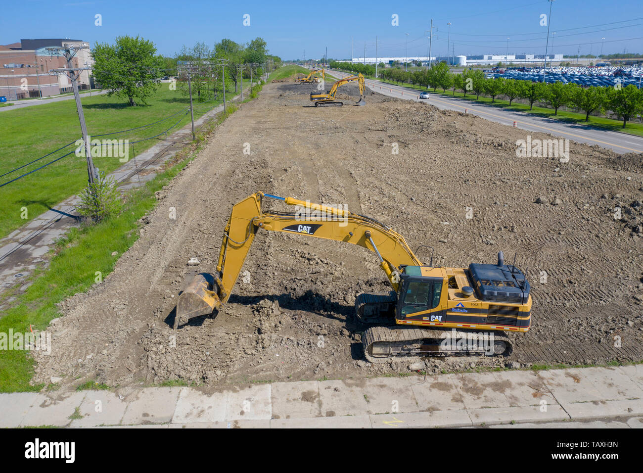 Detroit, Michigan - Early construction work for a new Fiat Chrysler assembly plant. The plant will be the first auto assembly plant built in Detroit i - Stock Image