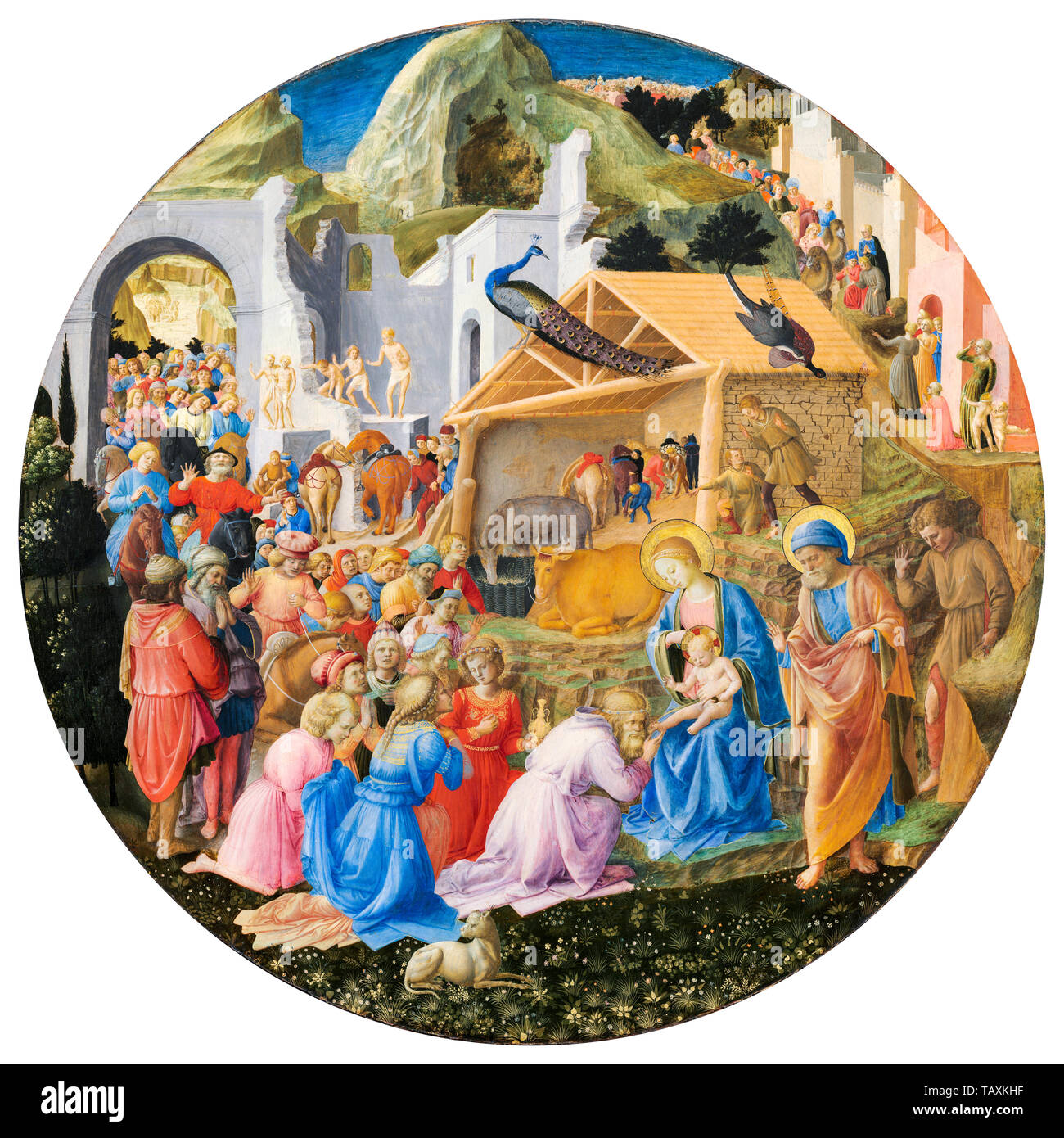 Fra Angelico, Fra Filippo Lippi, The Adoration of the Magi, painting, circa 1440 - Stock Image
