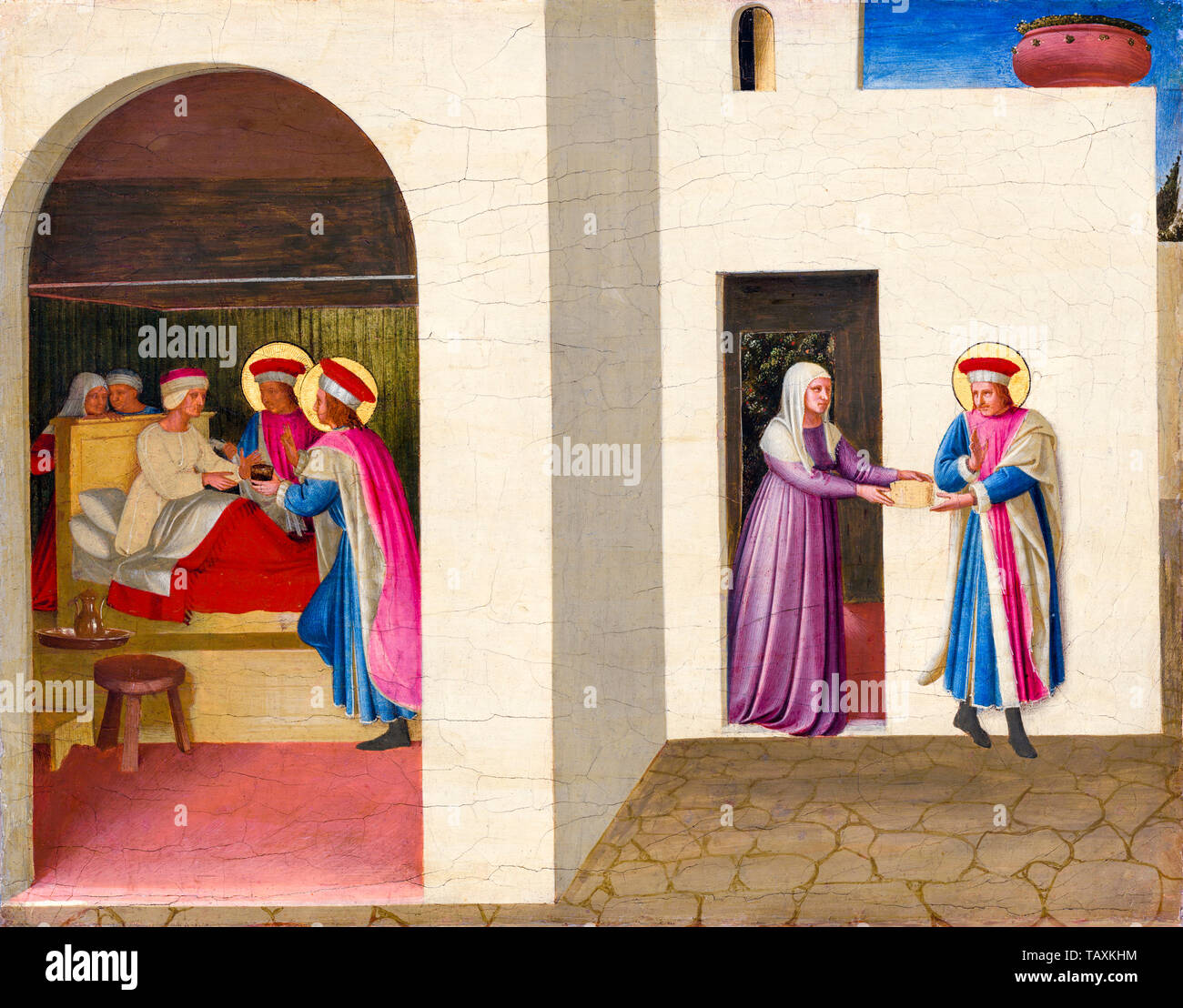 Fra Angelico, The Healing of Palladia by Saint Cosmas and Saint Damian, painting, circa 1438 - Stock Image