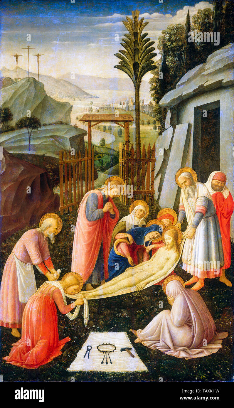 Fra Angelico, The Entombment of Christ, painting, circa 1450 - Stock Image