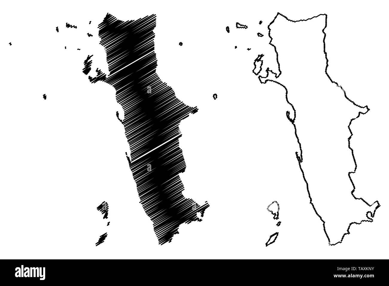 Al Hudaydah Governorate (Governorates of Yemen, Republic of Yemen) map vector illustration, scribble sketch Western Coast map - Stock Vector