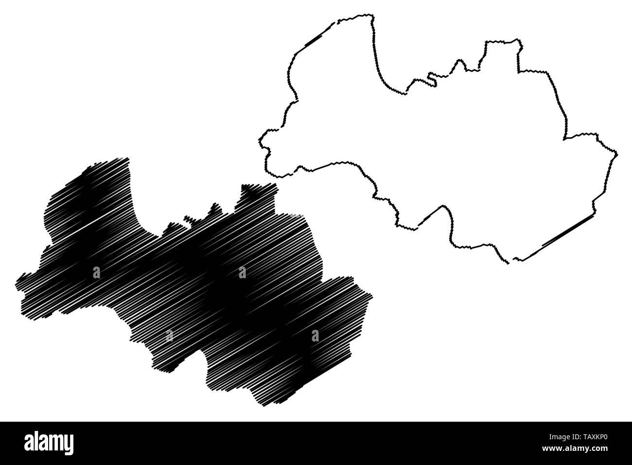 Al Bayda Governorate (Governorates of Yemen, Republic of Yemen) map vector illustration, scribble sketch Al Bayda map - Stock Vector