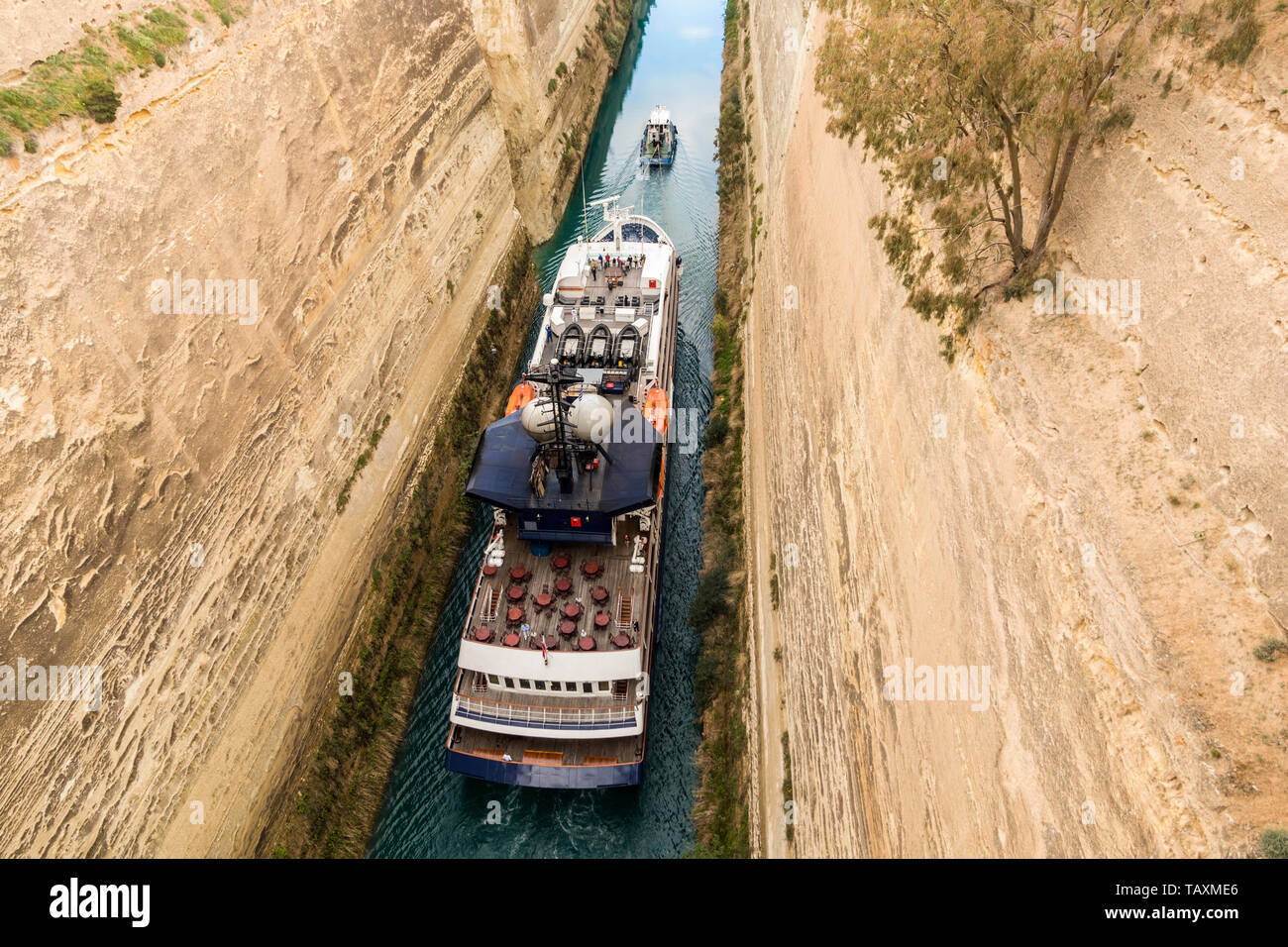The Corinth Canal, Greece, a channel done in 1893 that cuts the narrow Isthmus of Corinth and separates the Peloponnese from the Greek mainland - Stock Image