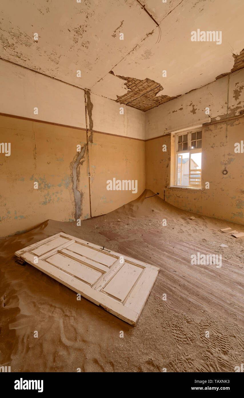 View from a room in a deserted building in hot Namibian desert. - Stock Image