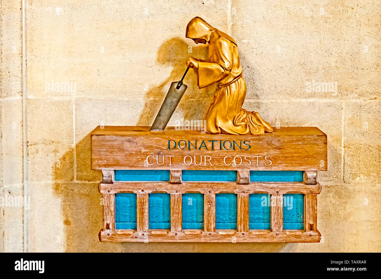 Bury St. Edmunds (Suffolk, England): Donation box in the  church - Stock Image