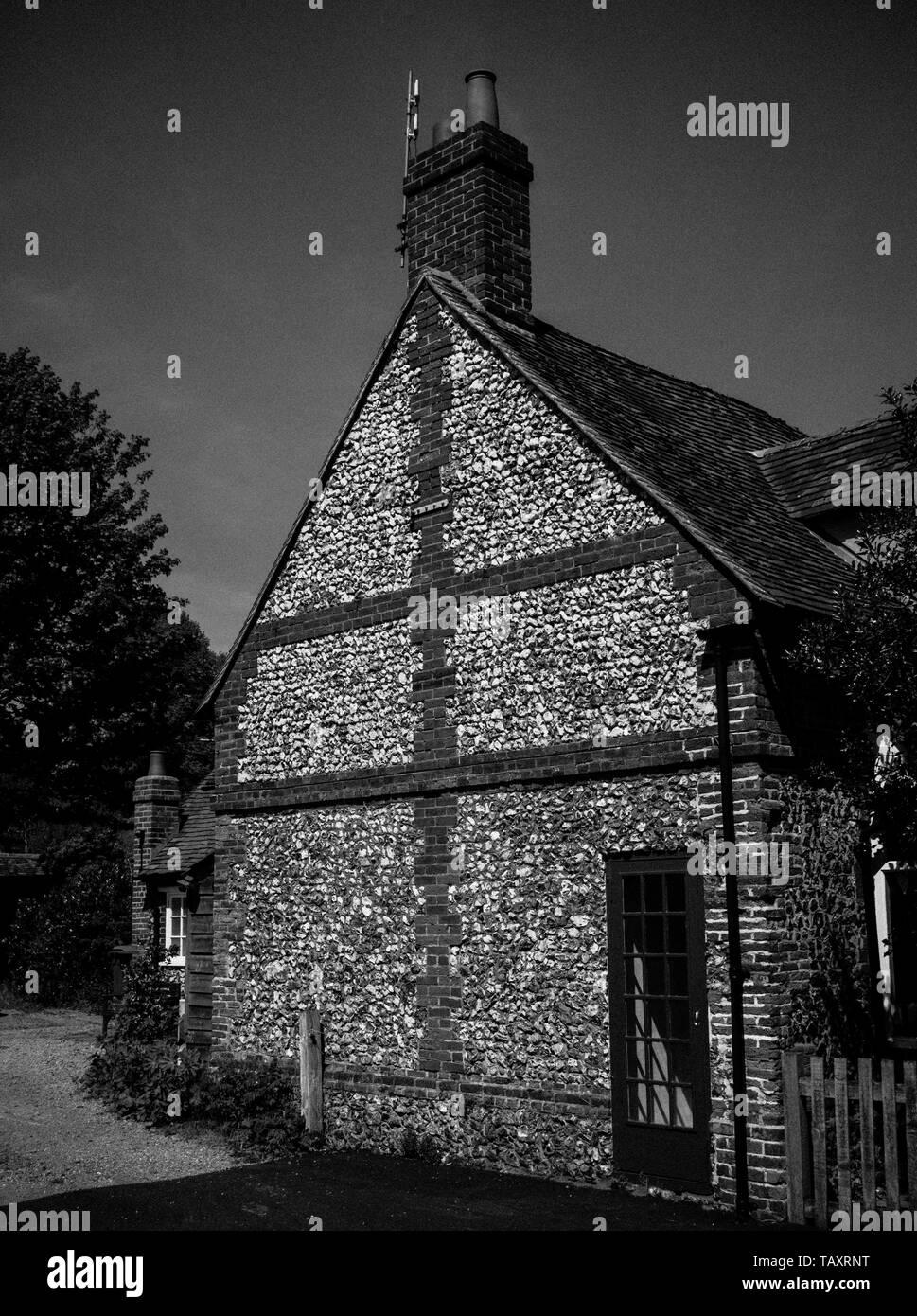 Dark House Black and White Photograph, of Stone House in Hambledon Village, Buckinghamshire, England, UK, GB. - Stock Image