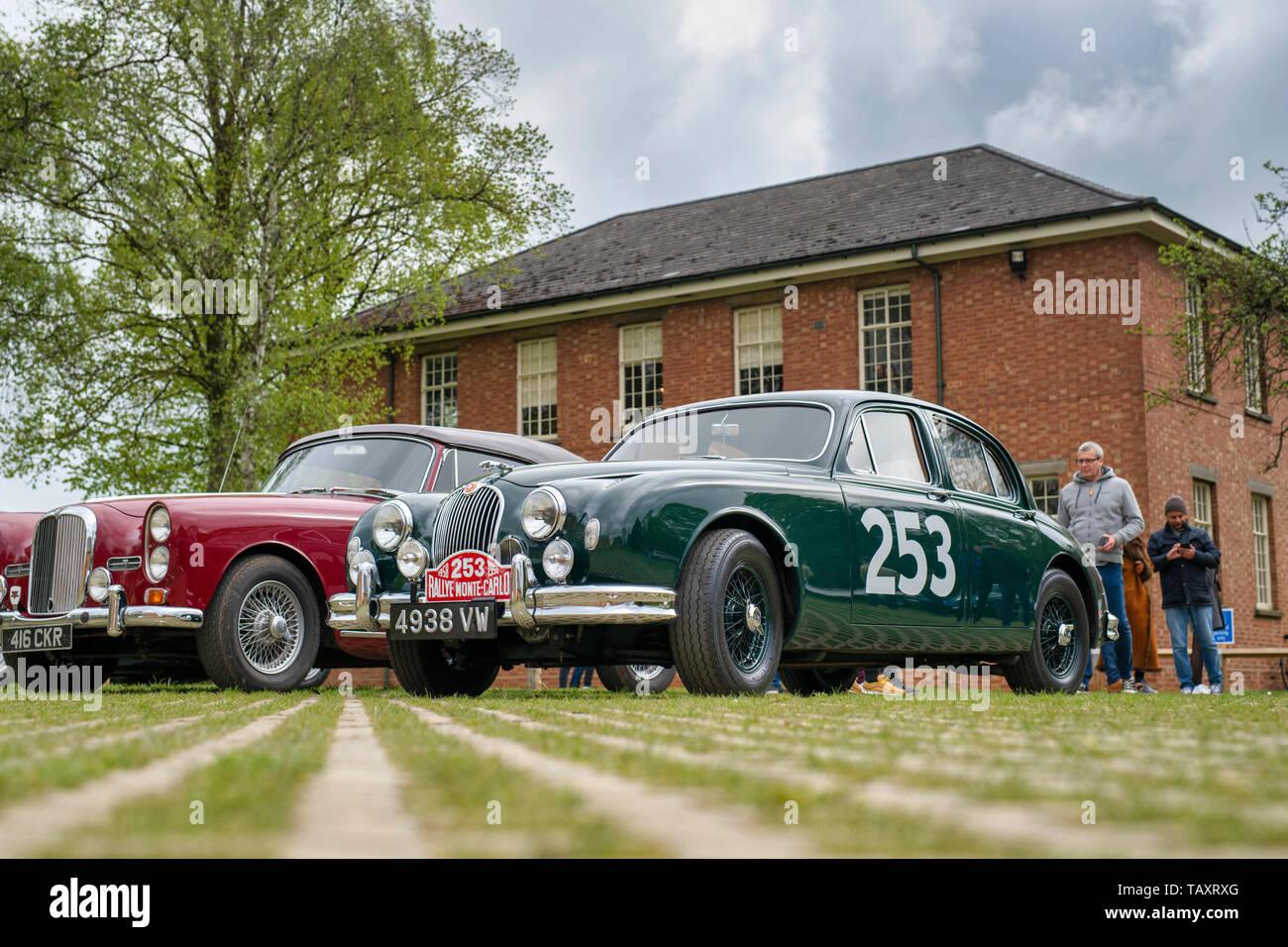 1957 Jaguar 3.4 340 car at Bicester Heritage centre 'Drive it day'. Bicester, Oxfordshire, England. Vintage filter applied - Stock Image