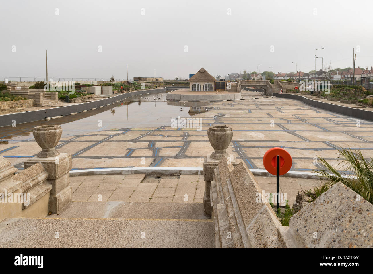 Great Yarmouth boating lake, part of the Venetian Waterways - drained during restoration works in 2019, Norfolk, England, UK - Stock Image